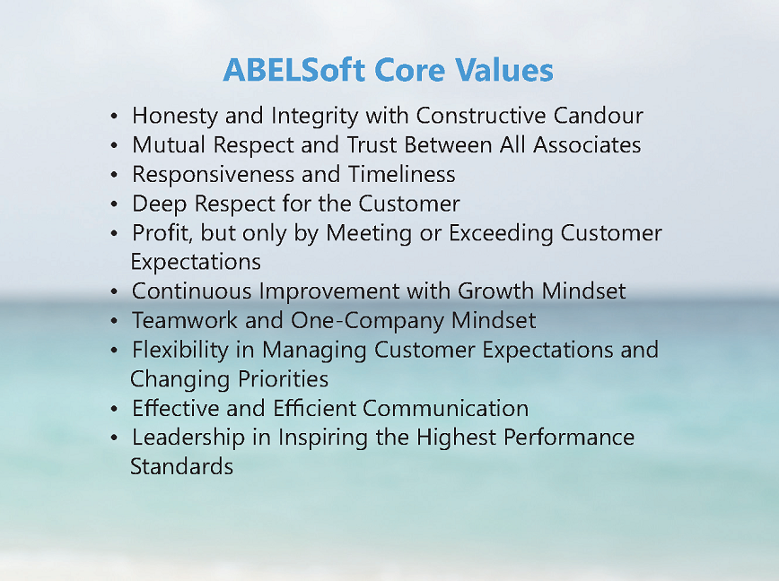 ABELSoft Core Values